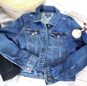 Just USA Distressed Denim Cropped Jacket Sz Large